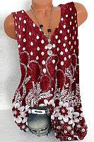 Plus Size V Neck Sleeveless  Printed Top