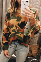 Round Neck  Camouflage Sweaters