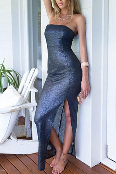 Strapless  Backless High Slit  Plain  Sleeveless Party Dresses