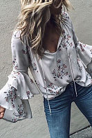 Casual Sexy V Neck   Stacked Horn Sleeves Floral Print Shirt
