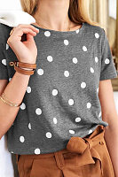 Round Neck Polka Dot T-shirt