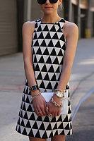 Round Neck  Geometric  Sleeveless Casual Dresses