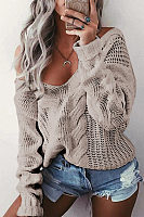 Plain V-Neck Long Sleeves Causal Loose Jumper