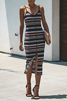 Spaghetti Strap  Single Breasted  Striped  Sleeveless Maxi Dresses