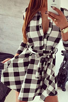 Turn Down Collar  Single Breasted  Checkered Casual Dresses