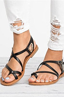 Plain  Flat  Peep Toe  Casual Date Travel Flat Sandals