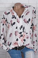 V Neck Floral Casual Blouse