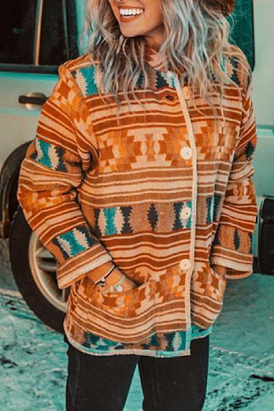 Womens Vintage Print Casual Jacket