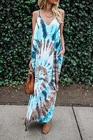 Spaghetti Strap  Print Maxi Dresses
