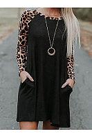 Scoop Neck  Cutout Patch Pocket Patchwork  Curved Hem  Leopard Shift Dresses