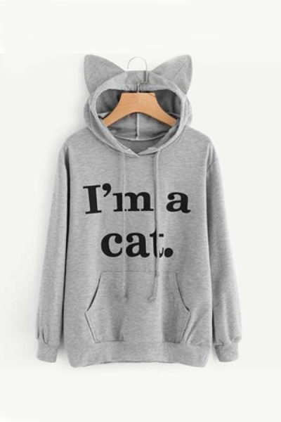 Hooded  Drawstring Kangaroo Pocket  Letters Hoodies