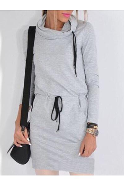 Round Neck  Belt  Plain  Long Sleeve Bodycon Dresses