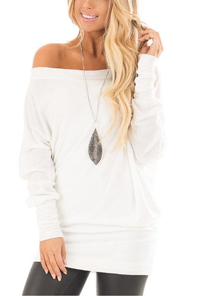 One Shoulder  Plain  Batwing Sleeve T-Shirts