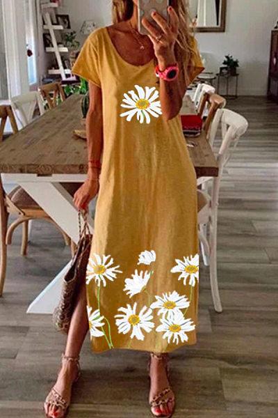Casual Floral Printed Short-sleeved Split Dress