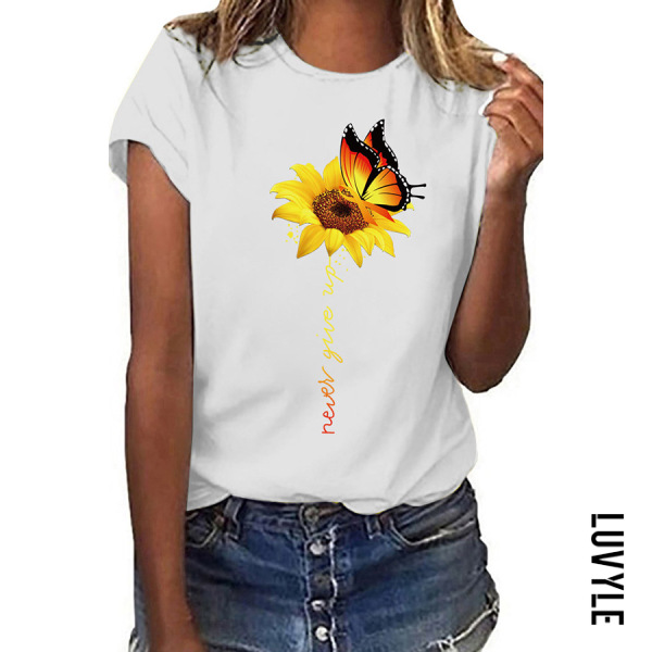 White Casual Round Collar Butterfly Sun Flower Short Sleeve T-Shirt White Casual Round Collar Butterfly Sun Flower Short Sleeve T-Shirt