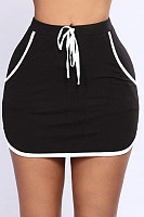 Drawstring  Plain  Casual Skirts