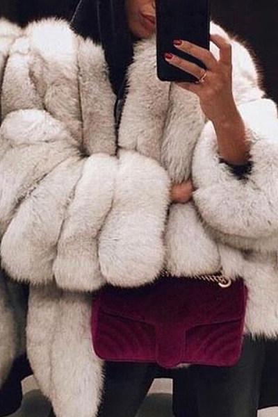 Fashion Faux Fur Long Sleeve Coats