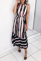 Round Neck  Stripes  Sleeveless Maxi Dresses