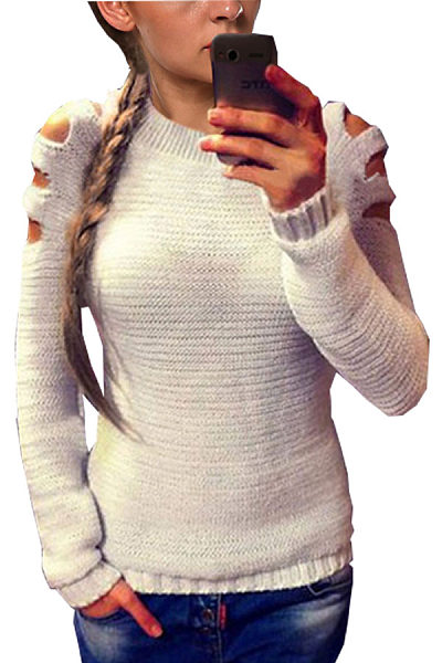 Scoop Neck  Hollow Out Plain Sweaters