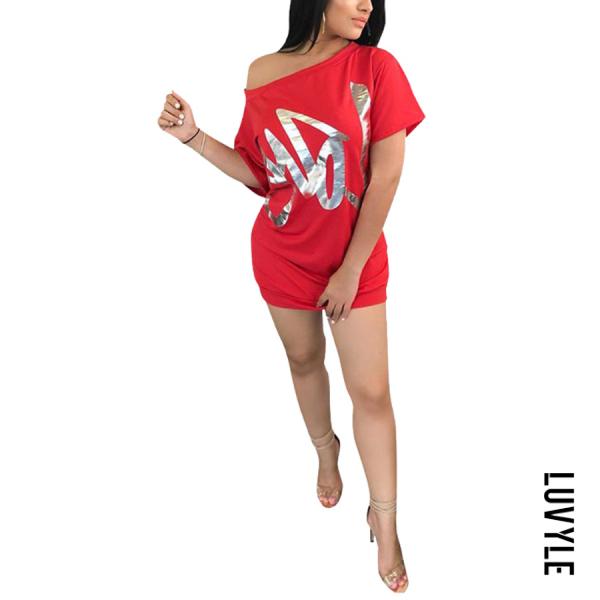 Red One Shoulder Letters Batwing Sleeve Short Sleeve Casual Dresses Red One Shoulder Letters Batwing Sleeve Short Sleeve Casual Dresses