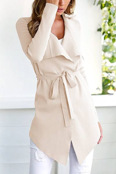 Fold Over Collar  Belt  Plain Cardigans