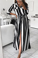 Fold-Over Collar Striped Maxi Dresses