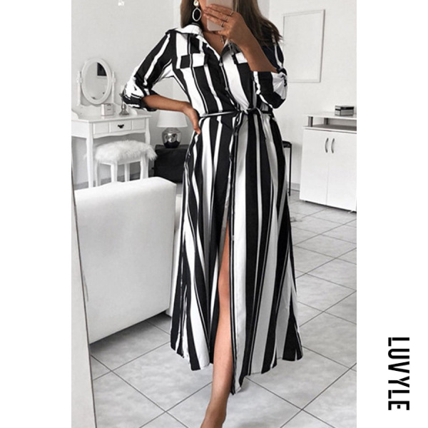 Black Fold-Over Collar Striped Maxi Dresses Black Fold-Over Collar Striped Maxi Dresses