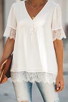 V Neck  Decorative Lace Single Breasted  Plain  Blouses