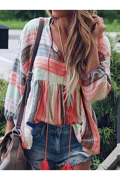 Casual V Neck Long Sleeve Striped Shirt
