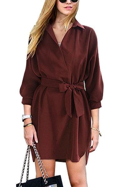 Turn Down Collar  Belt  Plain  Long Sleeve Casual Dresses