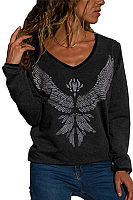 V Neck  Animal Prints  Sweatshirts