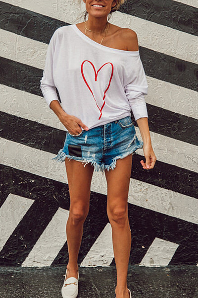 One Shoulder Heart Printed T-Shirts
