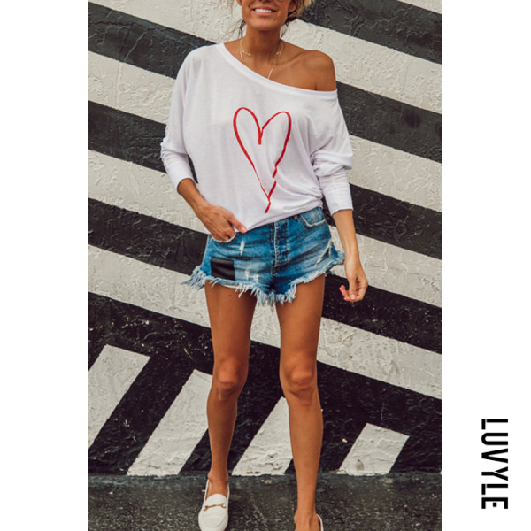 White One Shoulder Heart Printed T-Shirts White One Shoulder Heart Printed T-Shirts