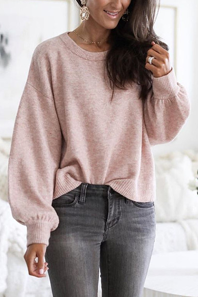 Round Neck Long Sleeve Plain Sweater