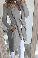 Lapel  Asymmetric Hem Snap Front  Plain Cardigans