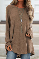 Round  Neck  Patchwork  Casual  Plain  Long Sleeve  T-Shirt