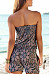 Strapless  Backless  Printed  Sleeveless  Playsuits