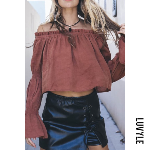 Off Shoulder Loose Fitting Plain Bell Sleeve Blouses