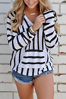 V Neck  Kangaroo Pocket  Striped T-Shirts