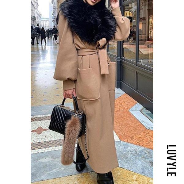 Image of Fashion fur collar camel sleeves wool coat