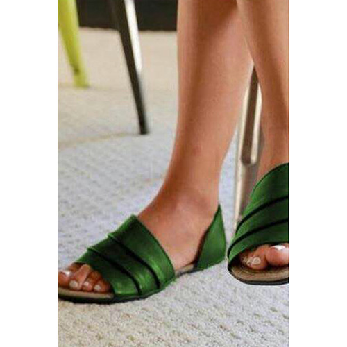 Vintage Plain Flat Peep Toe Casual  Flat Sandals