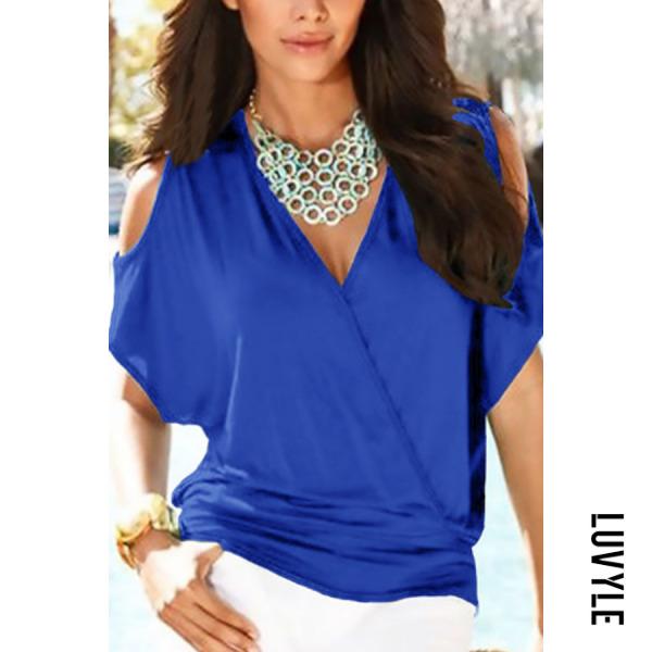 Blue Open Shoulder V Neck Plain T-Shirts Blue Open Shoulder V Neck Plain T-Shirts