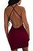Deep V Neck  Backless Lace Up  Plain Bodycon Dresses