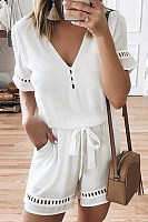 V Neck  Plain  Short Sleeve  Playsuits