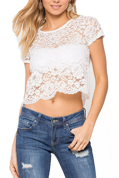 Round Neck See Through Hollow Out Short Sleeve Blouses