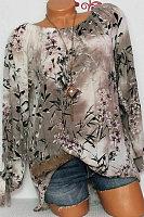 Shoulder Collar  Patchwork  Elegant  Printed  Long Sleeve  Blouses