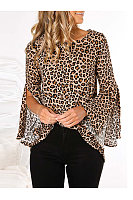 Fashion Round Neck Back Split Leopard Blouse