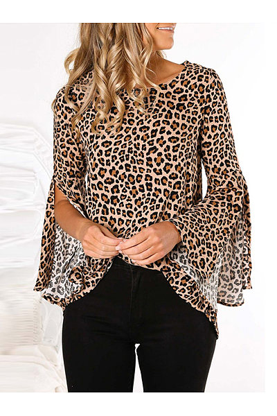 Fashion Round Neck Back Split Leopard Blouse