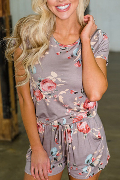 Round Neck  Printed  Short Sleeve  Playsuits