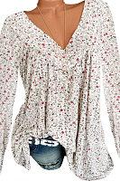 V Neck  Patchwork  Floral Printed Long Sleeve T-Shirt